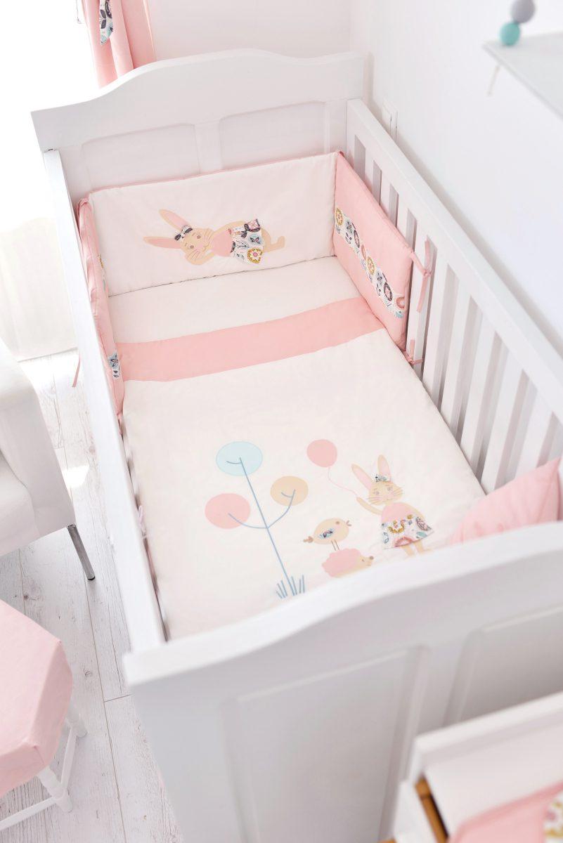 hímzett erdei mintás rózsaszín ágytakaró, Flower Lover, tiszta pamut