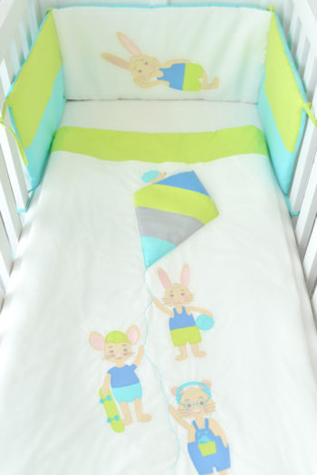hímzett papírsárkányos színes ágytakaró, Every day SONday, tiszta pamut