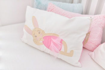 rózsaszín nyuszis párna, babies on board, Pink Prank, díszpárna
