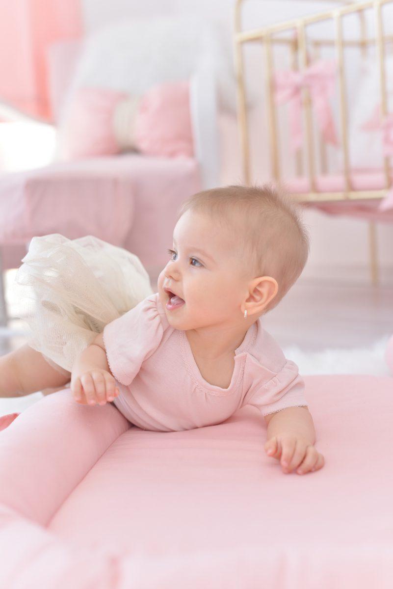 pasztell rózsaszín babafészek, Babies on Board, FlowerLover, tiszta pamut