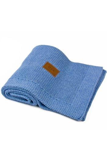 organikus 100% pamut kötött takaró kék