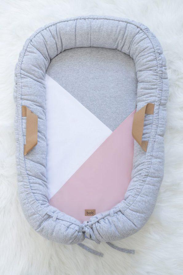babafészek szürke rózsaszín geometrikus