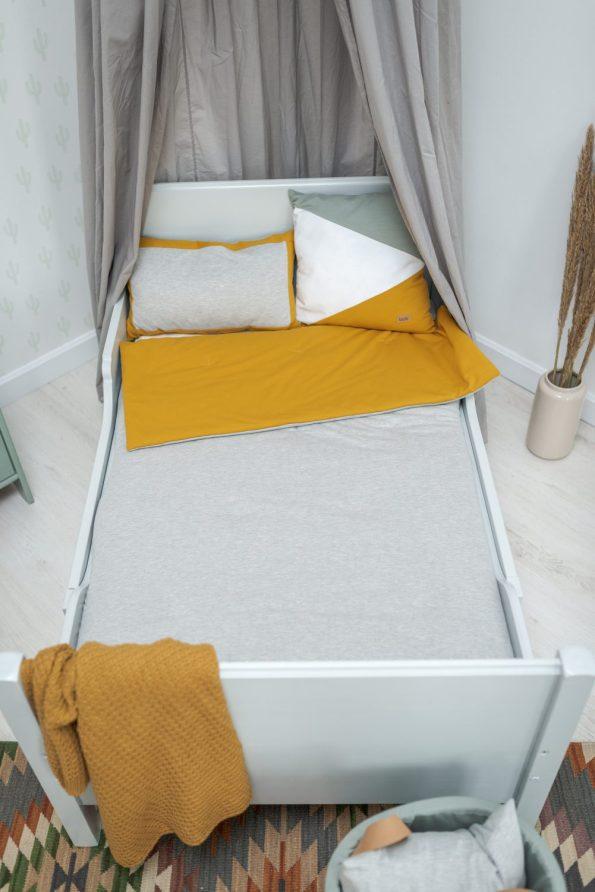 ágytakaró 100x140cm mustár szürke