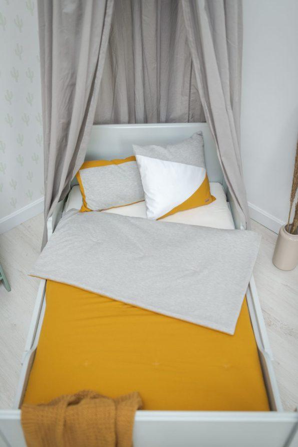 ágytakaró kétoldalas szürke mustár